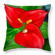 Immeasurable Beauty- Anthurium Paintings Throw Pillow