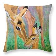 Impala Doe And Fawn Throw Pillow