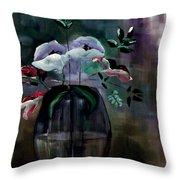 Impatient Painterly Floral Throw Pillow