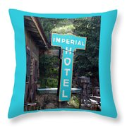 Imperial Hotel Sign In Cripple Creek Throw Pillow