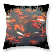 Imperial Koi Pond With Black Swirling Frame Throw Pillow