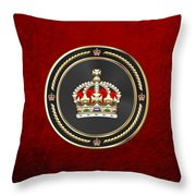 Imperial Tudor Crown Over Red Velvet Throw Pillow