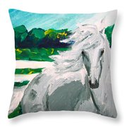 Impressionism Horse Throw Pillow