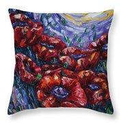 Impressionist Field Poppies Throw Pillow