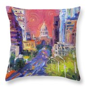 Impressionistic Downtown Austin City Painting Throw Pillow