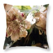 Impressionistic Green Peach Coral Floral Prints - Romantic Watercolor Peach Green Floral Decor Throw Pillow