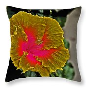Impressionistic Hibiscus Yellow And Red  Throw Pillow