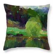 Impressionistic Oil Landscape Lake Painting Throw Pillow