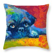 impressionistic Pug painting Throw Pillow by Svetlana Novikova