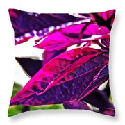 Impressionistic Purple Leaves Throw Pillow