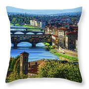 Impressions Of Florence - Long Blue Shadows On The Arno River Throw Pillow