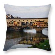 Impressions Of Florence - Ponte Vecchio Autumn Throw Pillow