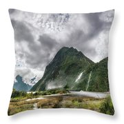 Impressive Weather Conditions At Milford Sound Throw Pillow