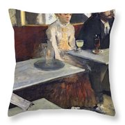 In A Cafe Throw Pillow by Edgar Degas