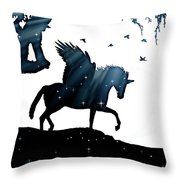 In A Dream, Unicorn, Pegasus And Castle Modern Minimalist Style Throw Pillow