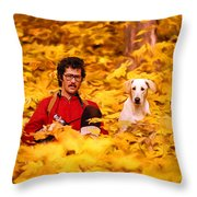 In A Yellow Wood - Paint Throw Pillow