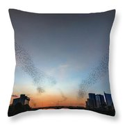 In Austin Streams Of Mexican Freetailed Bats The Worlds Largest Urban Bat Colony Take To The Skies During Sunset Throw Pillow