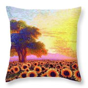 In Awe Of Sunflowers, Sunset Fields Throw Pillow