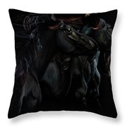 In Black Times Three Throw Pillow