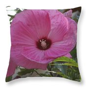 In Bloom - Pink Hibiscus Throw Pillow
