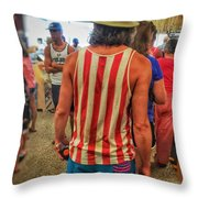 In Line With Red White And Blue Throw Pillow