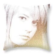 Silhouette Of Girl Through Letters Throw Pillow