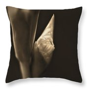 In The Beginning Gladiola Flower Bud Sepia Throw Pillow