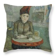 In The Cafe  Agostina Segatori In Le Tambourin Paris January  March 1887 Vincent Van Gogh 1853  Throw Pillow