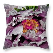 In The Eye Of The Peony Throw Pillow