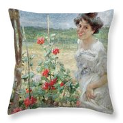In The Flower Garden, 1899 Throw Pillow
