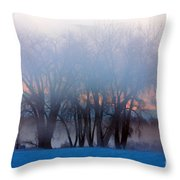 In The Fog At Sunrise Throw Pillow