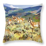 In The Foothills - Antelope Throw Pillow