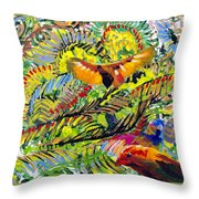 Birds In The Forest Throw Pillow