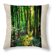 In The Forest With Words Throw Pillow