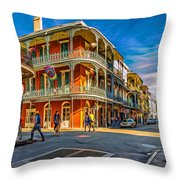 In The French Quarter - 2 Paint Throw Pillow