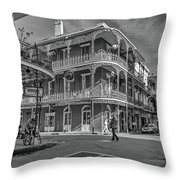 In The French Quarter - 3 Bw Throw Pillow