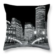 In The Heart Of A Black And White Town Throw Pillow