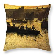 In The Port Throw Pillow by Charles Cottet