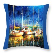 In The Port - Palette Knife Oil Painting On Canvas By Leonid Afremov Throw Pillow