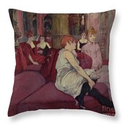 In The Salon At The Rue Des Moulins Throw Pillow