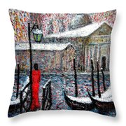 In The Snow In Venice Throw Pillow
