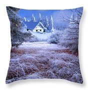 In The Snowy Forest Throw Pillow