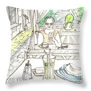 In The Summer Cafe Throw Pillow