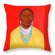 In The Time Of Crazy Horse Throw Pillow by Johanna Elik
