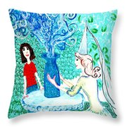 In The White Lady's Cave Throw Pillow by Sushila Burgess