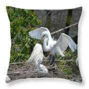 In The Wild White Snowy Egrets Photography ....photo A Throw Pillow
