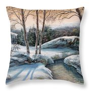 In The Winter In Carpathians.  Throw Pillow