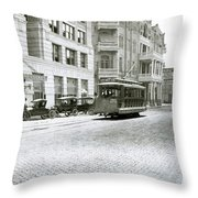 In This 1913 Photo, A Cable Car Drives Past The Littlefield Building And Dristill Hotel On Sixth Str Throw Pillow