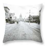 In This Historical 1913 Photo, Horse Drawn Carriages In Downtown Austin, Texas Run Up And Down Congress Avenue Cobblestone Streets Leading Up The The Texas State Capitol Throw Pillow