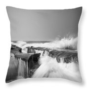 Incoming  La Jolla Rock Formations Black And White Throw Pillow